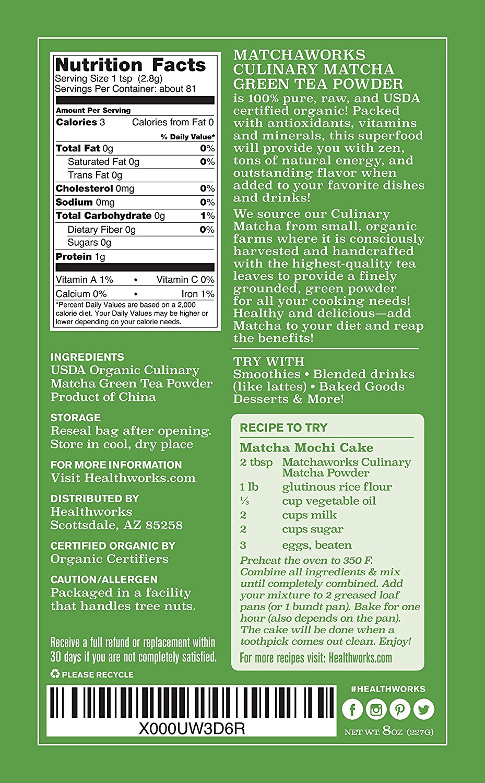the matcha ingredients